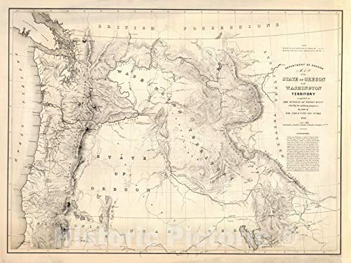 Historic Map | Department of Oregon. Map of the state of Oregon and Washington Territory, 1859 | Vintage Wall Art | 30in x 24in