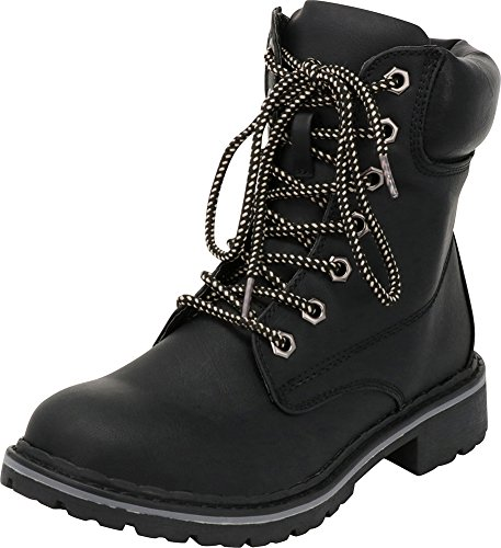 Cambridge Select Women's Work Combat Military Mid Calf Lug Sole Boot (9 B(M) US, Black/Black Sole) by Cambridge Select