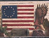 God Bless America Betsy Ross Original American Flag Bald Eagle Basket Beige Wallpaper Border Retro Design, Roll 15' x 7''