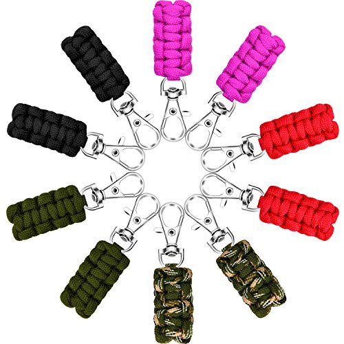 Poen 10 Pieces Paracord Zipper Pulls Rope Keychains Zipper Extension for Backpacks Tents Jackets, 5 Colors ()