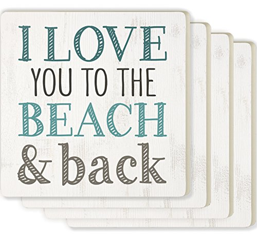 Love You to the Beach & Back Whitewash Look 4 x 4 Ceramic Coaster 4 Pack