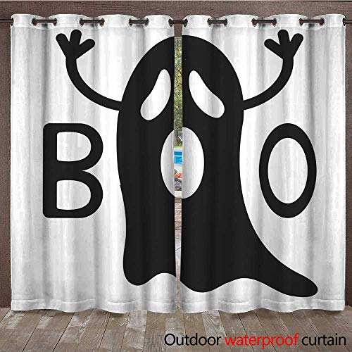 RenteriaDecor 0utdoor Curtains for Patio Waterproof Happy Halloween Funny Black Flying Ghost with Hands Boo Text Greeting Card Cute Cartoon Character Scary Spirit Baby coll W108 x -