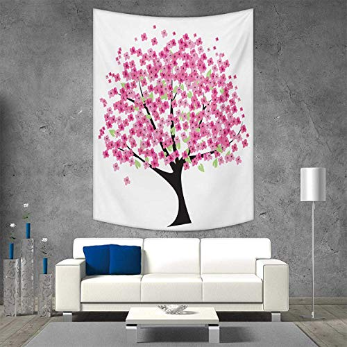 smallbeefly Nature Tapestry Wall Tapestry Cherry Blossom Lonely Tree Asian Japanese Gardening Theme Sakura Blossoms Art Wall Decor 70W x 84L INCH Pink Black White