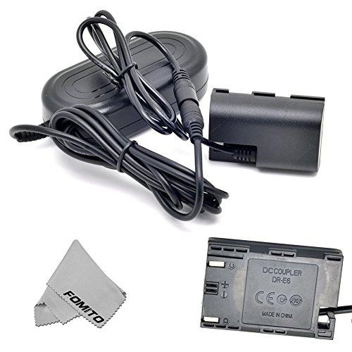 Fomito ACK-E6 AC Power Adapter + DR-E6 DC Coupler LPE6 Dummy Battery Kit for Canon EOS 5D2 5D3 6D 60D 7D 5D Mark II III Digital Cameras
