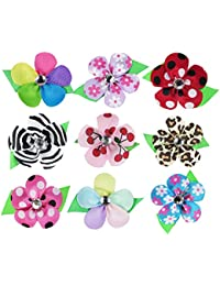 9 Colors Baby Girl Women Ribbon Petal Flowers Lined Hair Bows Clips for Teens Kids Babies Toddlers Adults--Small 2.25""