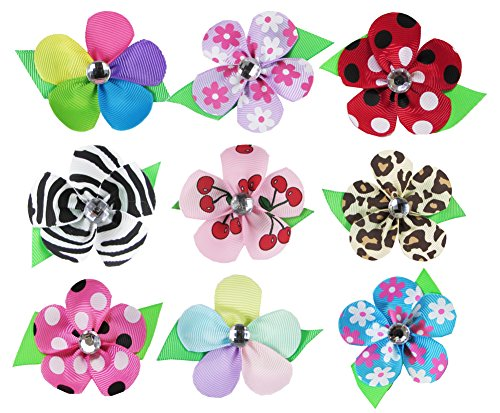 Hipgirl 9 Colors Baby Girl Women Ribbon Petal Flowers Lined Hair Bows Clips For Teens Kids Babies Toddlers Adults  Small 2 25