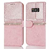 For Samsung Galaxy S7 Edge Bling Case, Premium Glitter Crystal Diamond PU Leather Case, Magnetic Silicone Back Shell Cover With Stand Wallet Card Holder Cases Covers-Rose Gold