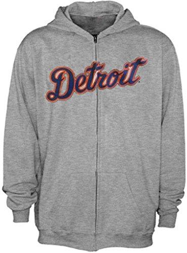 VF Detroit Tigers MLB Majestic Mens Away Wordmark Full Zip Mens Hoodie Gray Big & Tall Sizes (4XT)