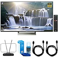 Sony XBR-65X930E 65-inch 4K HDR Ultra HD Smart LED TV (2017 Model) w/ TV Cut the Cord Bundle Includes, Durable HDTV and FM Antenna, Universal Screen Cleaner & 2x 6ft High Speed HDMI Cable - Black