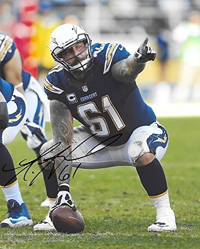 Ladainian Tomlinson Autographed Pro Football (Nick Hardwick,San Diego Chargers, Signed, Autographed, 8X10 Photo, a COA with the Proof Photo of Nick Signing Will Be Included..)
