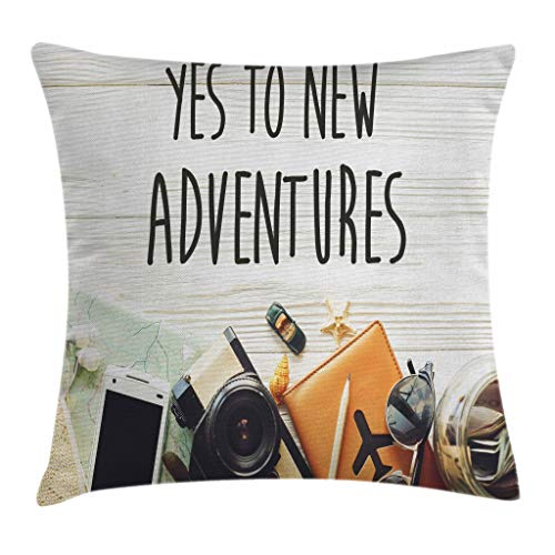 Adventure Bar Travel - Ambesonne Adventure Throw Pillow Cushion Cover, Say Yes to New Adventures Text Travel Preparations Theme Wanderlust Concept Retro, Decorative Square Accent Pillow Case, 16 X 16 Inches, Multicolor