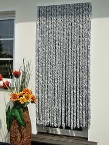 Leguana - Cortina para puerta chenille 120x230 plata, color blanco