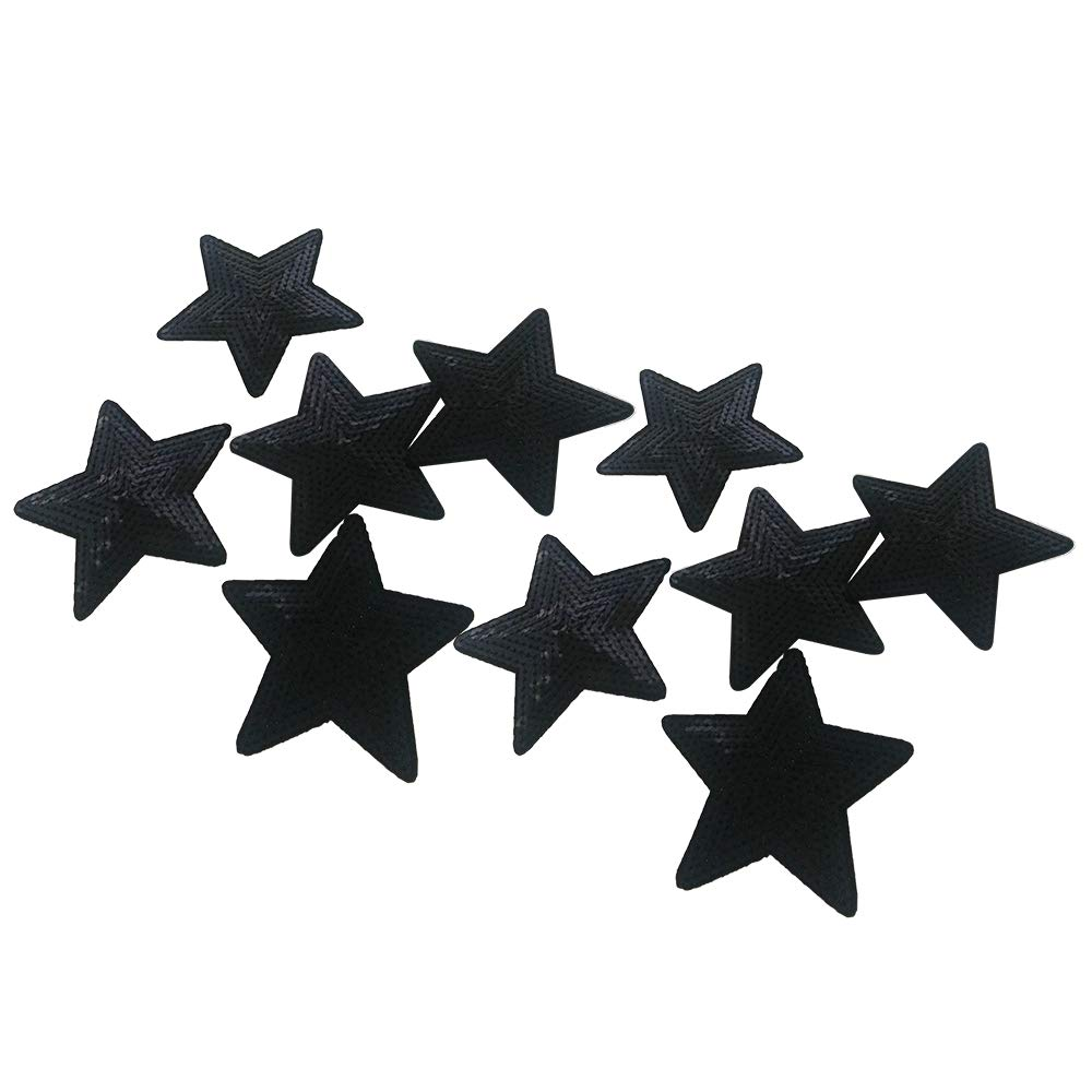10PCS Iron On Patches Badges Black Stars Appliques Sequin Embroidered Patches for Clothing Trousers Bags Stickers Sewing Accessories MUMULULU