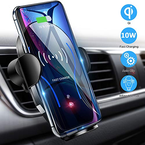 Mikikin Wireless Car Charger Mount, Auto-Clamping Qi 10W 7.5W Fast Charging Car Phone Holder Air Vent Compatible with iPhone X/XR/Xs/Xs Max/8/8 Plus, Samsung S6/S7/S8/S9 Edge+, Note 7/Note 8 & More