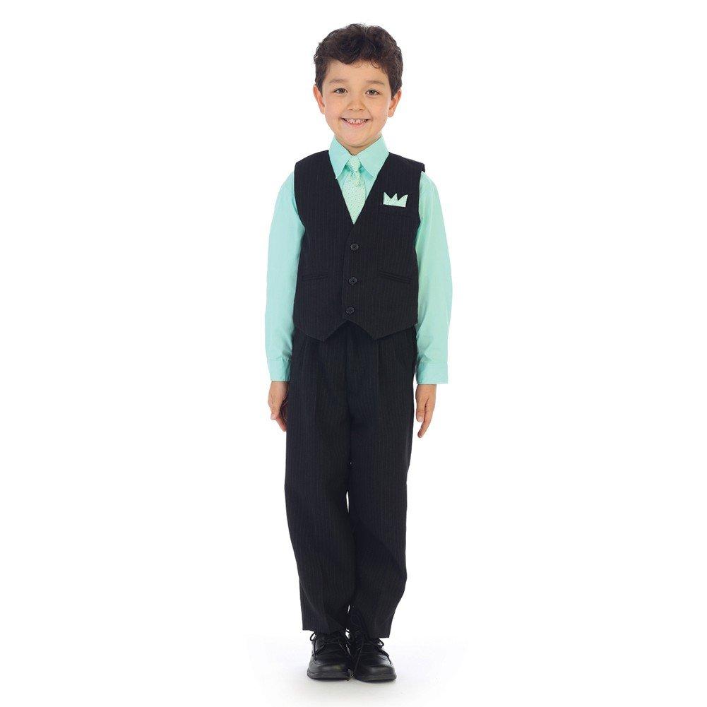 Angels Garment Big Boys Pastel Lime Shirt Pin Stripe Vest 4 Pc Pants Set 10