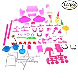 Ensunpal 127 Pcs Doll Accessories Set, Bags Shoes Necklace Earrings Combs Furniture, Jewelry, Guitar for Barbie Doll Kids Gift