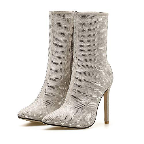 UONQD Boots Pointed Water Drill High Heels Boots Autumn Winter Women Side Zipper Shoes(US:6.5,Khaki)
