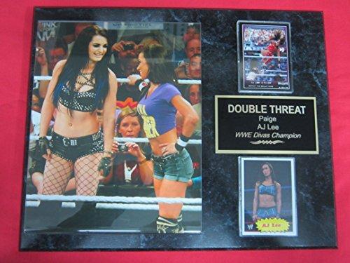 AJ LEE PAIGE WWE 2 Card Collector Plaque w/8x10 Color Photo