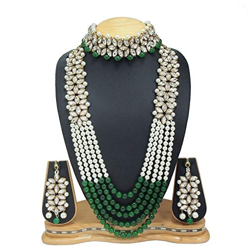 CROWN JEWEL Indian Fashion Bridal Wedding Pearl 4 pc Combo Jewelry Gold Necklace Earring Set ()