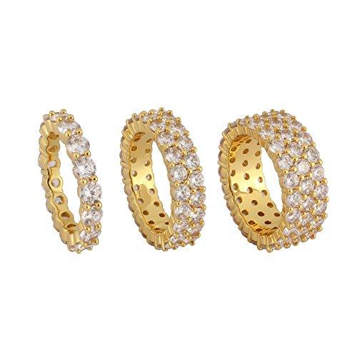 TRIPOD JEWELRY Hip Hop CZ Jewelry Mens Fashion Cut Cubic Zirconia Tennis Ring Gold Plated Eternity ring (1 Row,2 Row,3 Row) (Gold 2 Row, 10) by TRIPOD JEWELRY