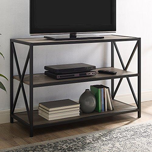 WE Furniture AZS40XMWGW 2 Shelf Industrial Wood Bookcase Bookshelf Storage, Grey Wash/Black Metal (Grey Metal Bookcase)