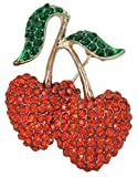 Gyn&Joy Ruby Red Double Cherry with Green Leaf Fruit Pin Brooch BZ083