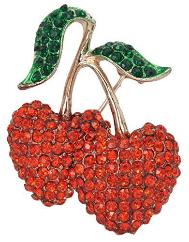 Brooch Fruit Pin (Gyn&Joy Ruby Red Double Cherry Green Leaf Fruit Pin Brooch BZ083)