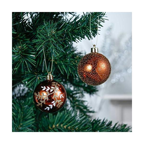 Valery Madelyn Palle di Natale 20 Pezzi 6cm Palline di Natale, Rame da Bosco e Oro Infrangibile Palla di Natale Ornamenti Decorazione per la Decorazione Dell'Albero di Natale 4 spesavip