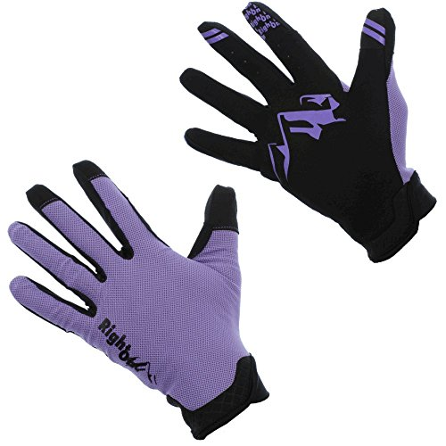 RightOn SIMPL Mountain Bike Gloves, Unisex Cycling Gloves, Full Finger MTB DH (Fox Purple Glove)