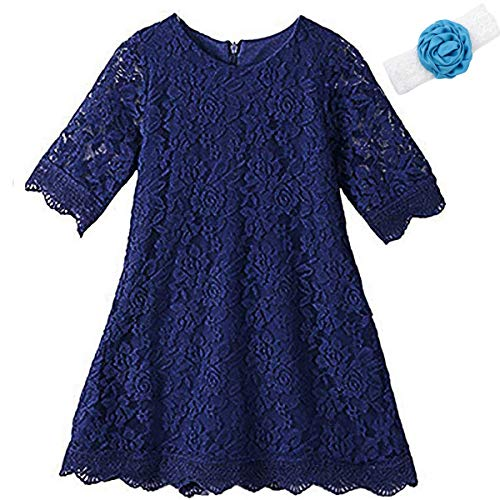 Party Dresses Toddlers (Flower Dress for Little Girls 3 Years Old Sleeveless Floor Length Special Occasion Dress for Kids Lace A-Line Church Party Holiday Christmas Pageant Dress for Toddlers 3T Navy Princess (Navy)