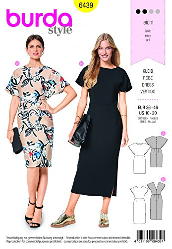 Burda Ladies Easy Sewing Pattern 6439 Back Interest Dresses