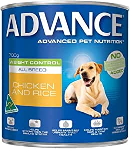 Advance Wet Dog Food, Weight Control - All Breed, Chicken and Rice, Adult and Senior, 12x700g