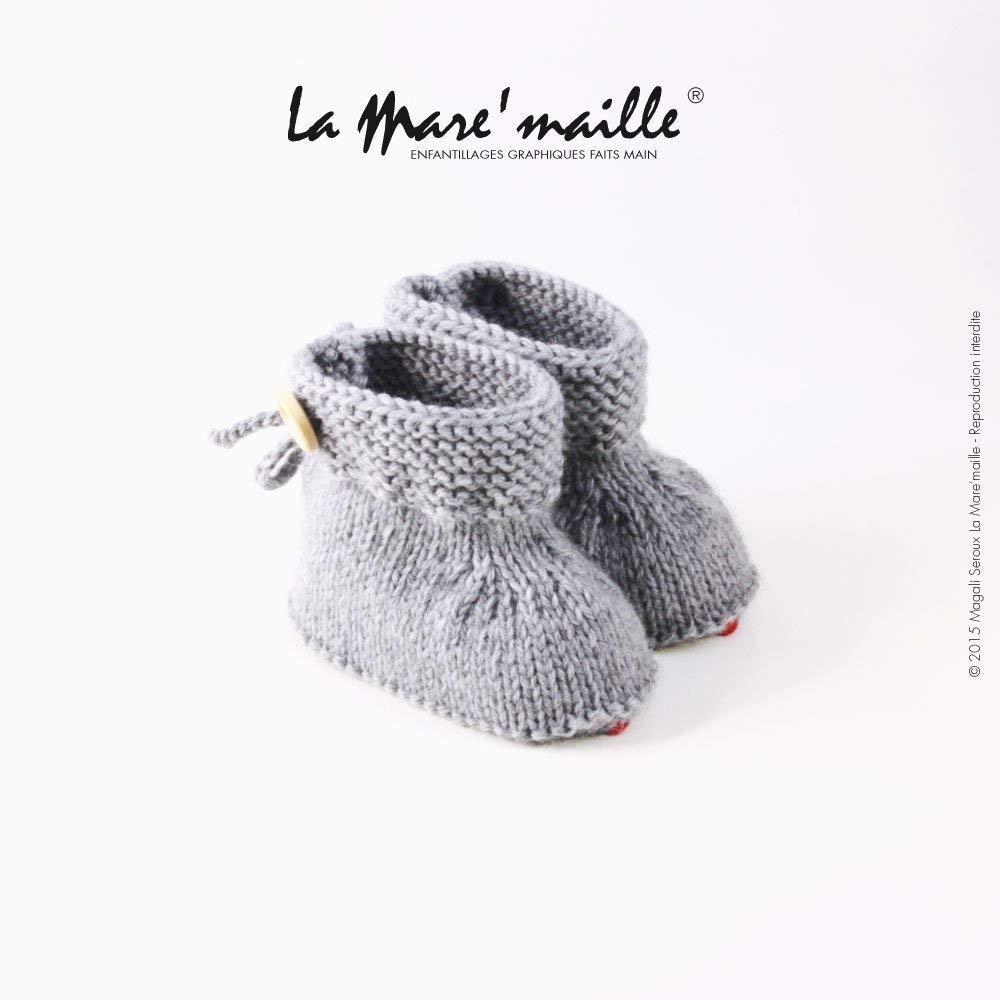 Chaussons bébé gris forme bottons en laine tricot main La Mare'maille