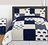 Sweet Jojo Designs 3-Piece Navy Blue, Gold, and White Big Bear Boy Full / Queen Bedding Comforter Set Kids Children s