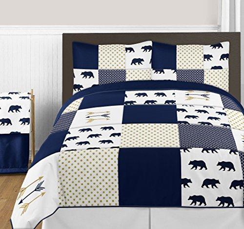 Sweet Jojo Designs 3-Piece Navy Blue, Gold, and White Big Bear Boy Full / Queen Bedding Comforter Set Kids Children s