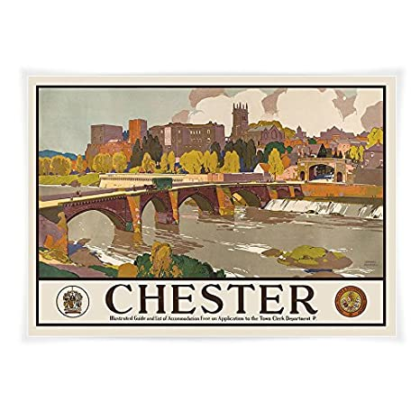 A4 Vintage travel poster railway poster Chester River Dee and Bridgegate