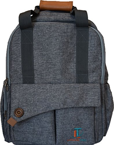 Laguna Tide Travel Diaper Bag Backpack w/ Padded Infant Changing Mat | 12-Pocket Trendy Designer Tote w/ Adjustable Shoulder Straps, Removable Stroller Straps | Waterproof Carryall … (Gray)