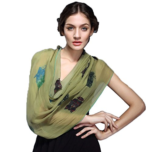 Exclusive Mulberry Silk Extended Long Scarf Women's Fashion High Quality Shawl Spring Autumn Summer Chiffon Scarf by YSW