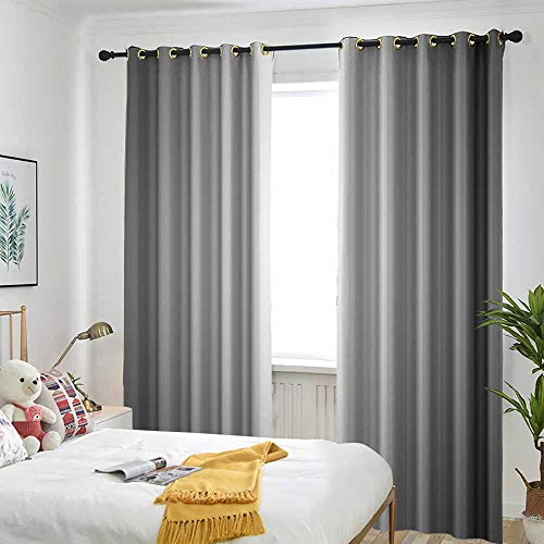 (Grey Decor Collection Blackout curtain Faded Digital Print Dark Blur Grungy Style Plain Mat Metallic Modern Urban Life Trendy Home Decor Insulated with Grommet Curtains for Bedroom 84