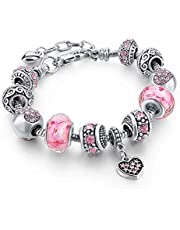 Capital Charms Silver Charm Bracelet Set with Crystal Beads, Gifts for Women and Girls, Universal Fit with 19 cm + 4 cm Extension