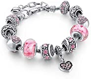 Capital Charms Silver Charm Bracelet Set with Crystal Beads, Gifts for Women and Girls, Universal Fit with 19