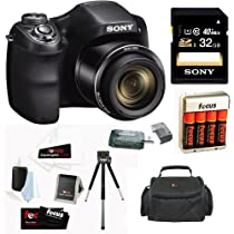 Sony Cyber-shot DSC-H300/B Compact Zoom Digital Camera in Black + Sony 32GB Class 10 Secure Digital Memory Card + Carrying Case + 4 AA Rechargeable Batteries w/ Charger + Accessory Kit
