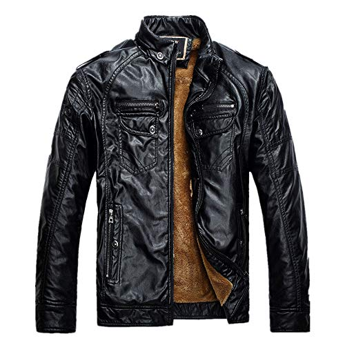 Black Coat Men's Jacket Velvet Warm Winter Faux Biker Thickened Folder Leather vzwqvng6T