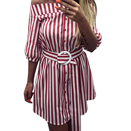 DongDong Women Summer Belt Striped 3/4 Sleeve Cold Off Shoulder Sexy Mini Dress RD/M (Camoflauge Belt)