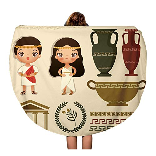 Pinbeam Beach Towel Woman Ancient Greek Traditional Costumes Dress People Roman Travel 60 inches Round Tapestry Beach -
