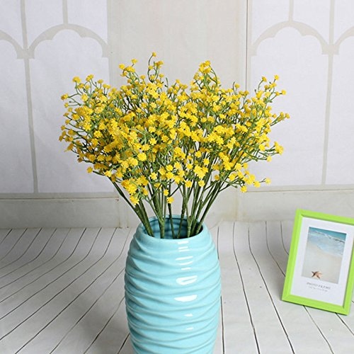 S&M TREADE Baby Breath Gypsophila Silk Wedding Flowers Bouquet Centerpieces Fillers Decor (Yellow)