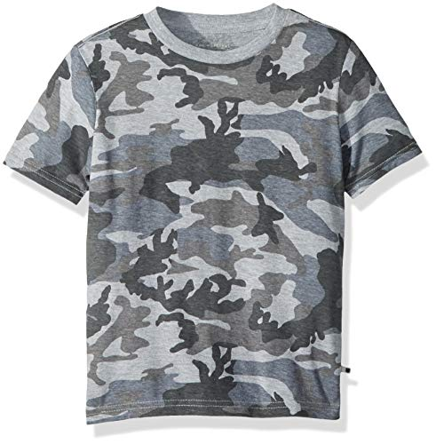Lucky Brand Little Boys' Short Sleeve Graphic Tee Shirt, camo Grey Heather, 4/5