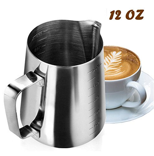 My Pitcher Measuring | 12 Ounce Premium 18/8 Stainless Steel Milk Frothing Pitcher with Measurement Marks on Both Side Inside for Precision Pouring Espresso Machine Milk Frothers Latte Art | 752.2 12 Ounce Pitcher