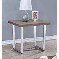 Coaster Home Furnishings 704187 End Table, NULL, Weathered Taupe/Chrome Metal