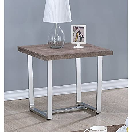 Coaster Home Furnishings 704187 End Table NULL Weathered Taupe Chrome Metal